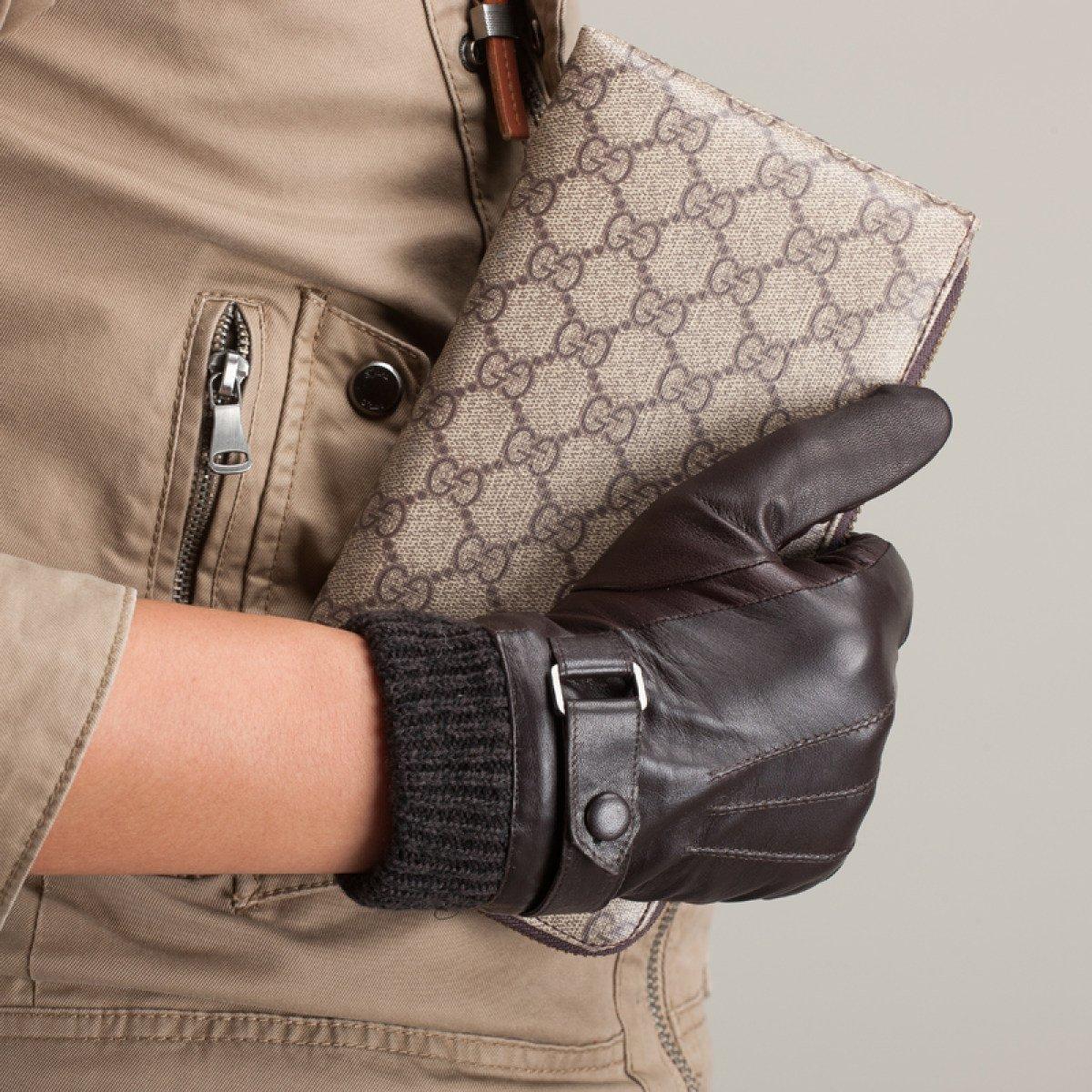 GBT Men & Leder 039;S Leder & mit Rüschen besetzte Handschuhe Herbst und Winter Warme Lederhandschuhe Short Classic Braun schwarz 7d9244