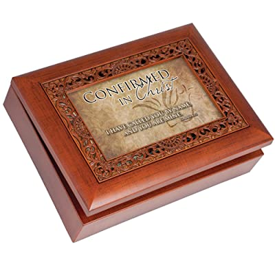 Cottage Garden Confirmed in Christ Called Woodgrain Inlay Jewelry Music Box Plays How Great Thou Art: Home & Kitchen