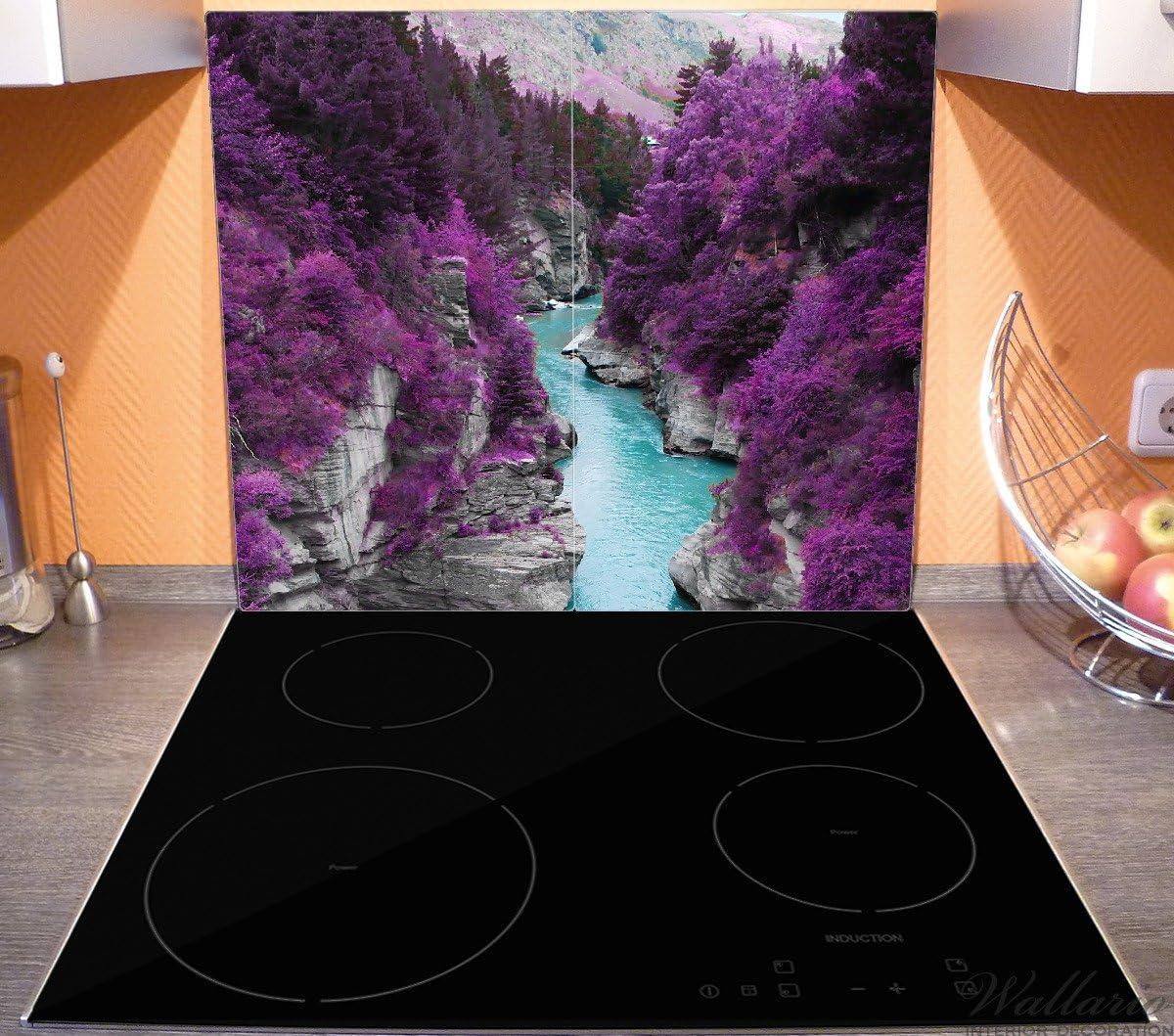 52x60cm Fluss in lilafarbener Schlucht Wallario Herdabdeckplatte//Spritzschutz aus Glas 1-teilig f/ür Ceran- und Induktionsherde