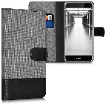 kwmobile Funda para Huawei P8 Lite (2017) - Carcasa de Tela y [Cuero sintético] - con Tapa y [Tarjetero] [Gris/Negro]