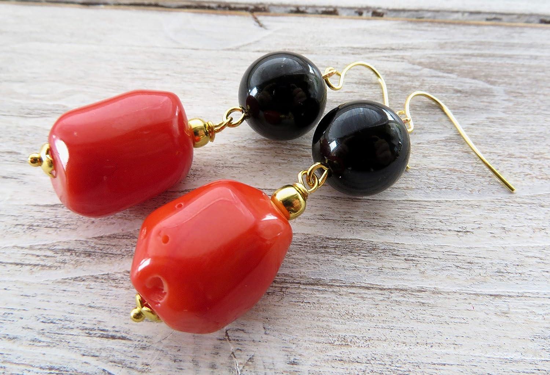 Pendientes de coral naranja y onix negro, pendientes colgantes, pendientes largos, joyas para mujer, joyas modernas, joyas piedras preciosas