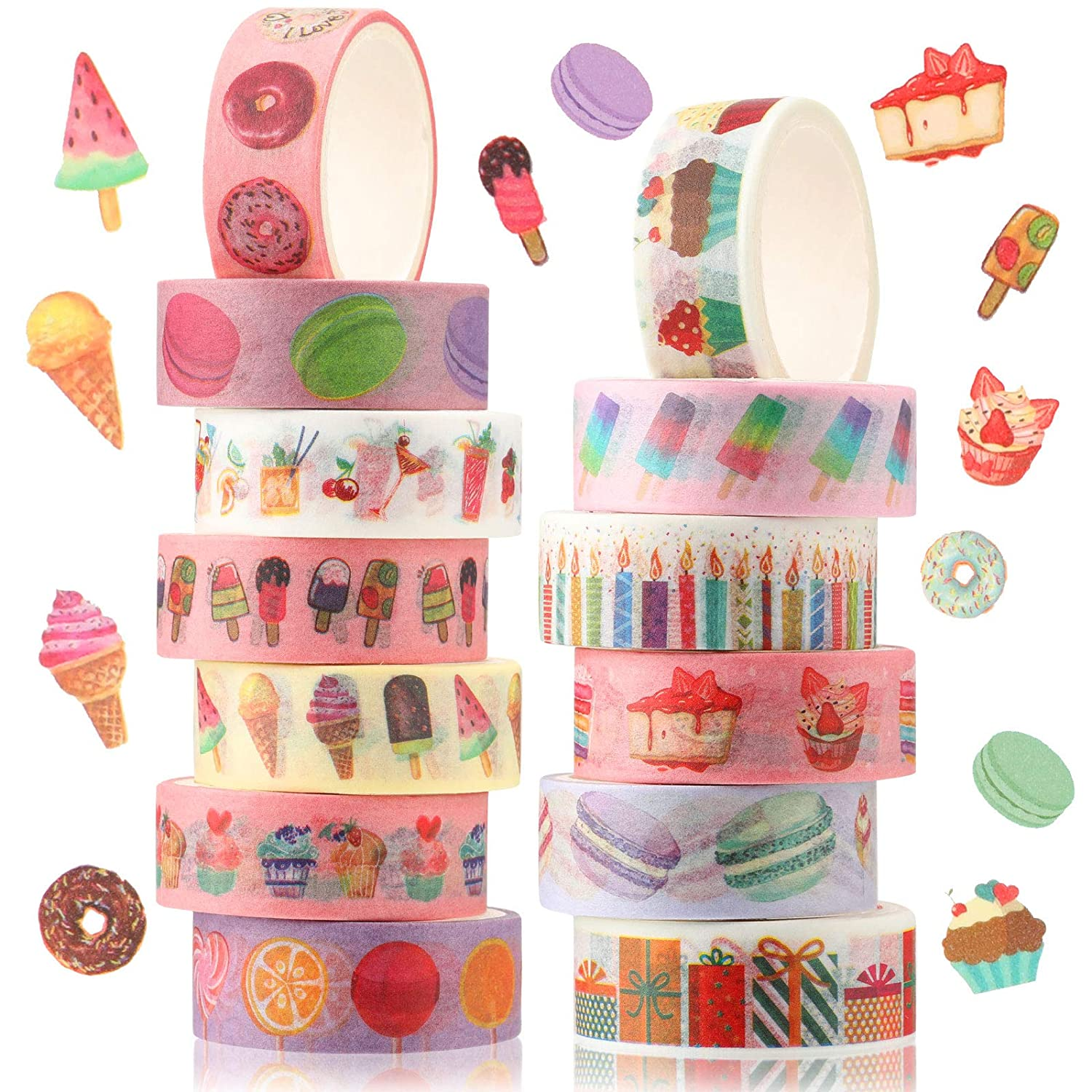 12 Rolls Dessert Ice Cream Donuts Cartoon Washi Masking Tape Fragrance Washi Tape DIY Decorative Tapes Wrapping Craft Pattern Tapes for Arts, DIY Crafts, Scrapbook, Planner, Holiday Card Decorations