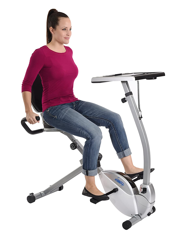 amazoncom stamina 2in1 recumbent exercise bike workstation u0026 standing desk sports u0026 outdoors