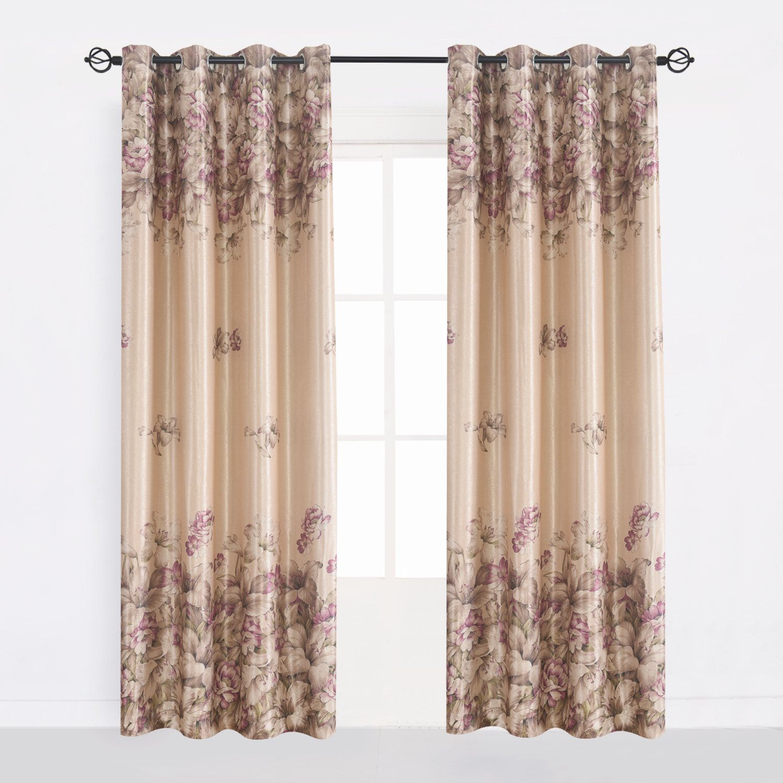 Amazon Cherry Home Elegent Floral Blackout Pink Flower Curtains