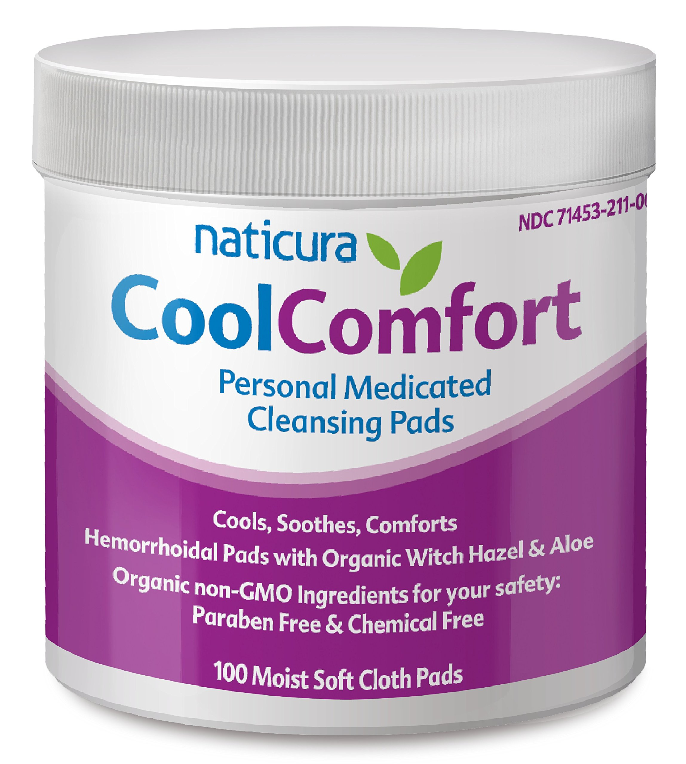Hemorrhoidal Personal Medicated Cleansing Wipes; 100 Pads with Organic Witch Hazel & Aloe Vera for Refreshing Cool Comfort Soothing Relief by Naticura