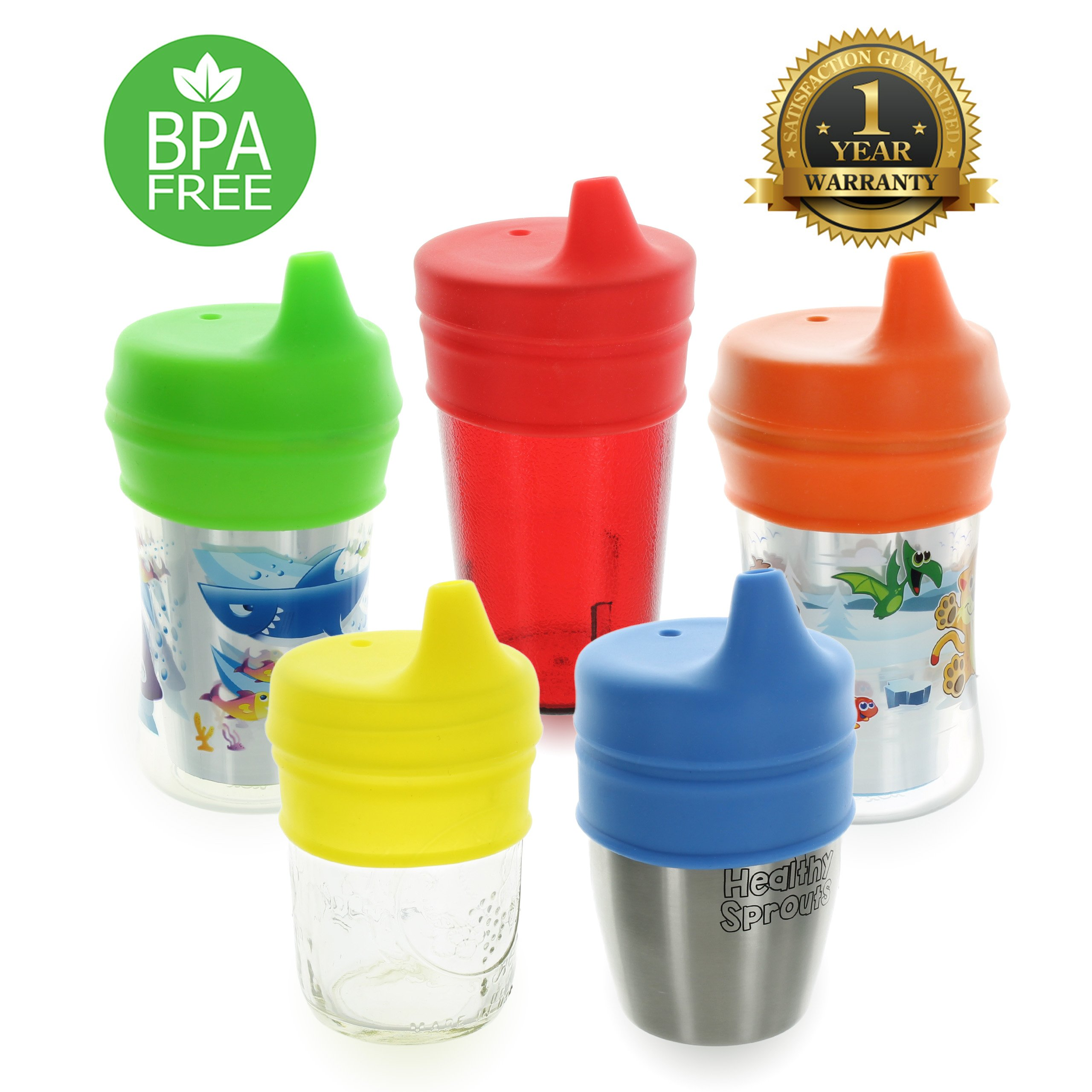 Healthy Sprouts Silicone Sippy Lids (5 Pack) - Lab Tested, Spill Proof, BPA Free, Universal Soft Spout Stretch Tops | Make Any Cup a Sippy Cup for Toddler, Baby, Infant (Red Yellow Blue)