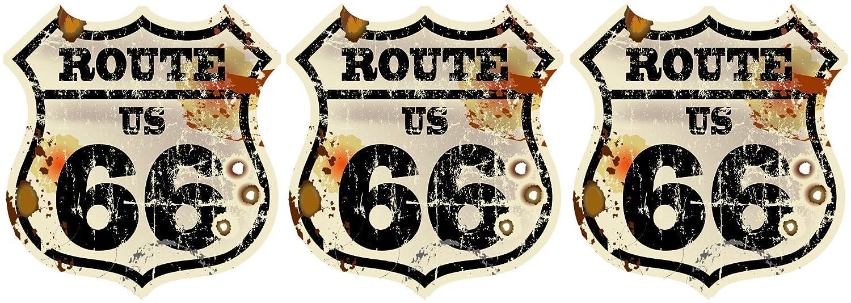 /Autocollant pour voiture Route 66/USA r/étro Old School Motorcycles Vintage autocollant pour moto v/élo voiture D/écoration / 5/x 4,5/cm /Armoiries Contour chnit/ 3/x Mini