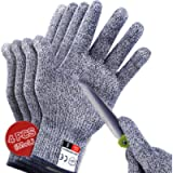4 PCS (M+L) Cut Resistant Gloves Level 5 Protection for Kitchen, Upgrade Safety Anti Cutting Gloves for Meat Cutting…