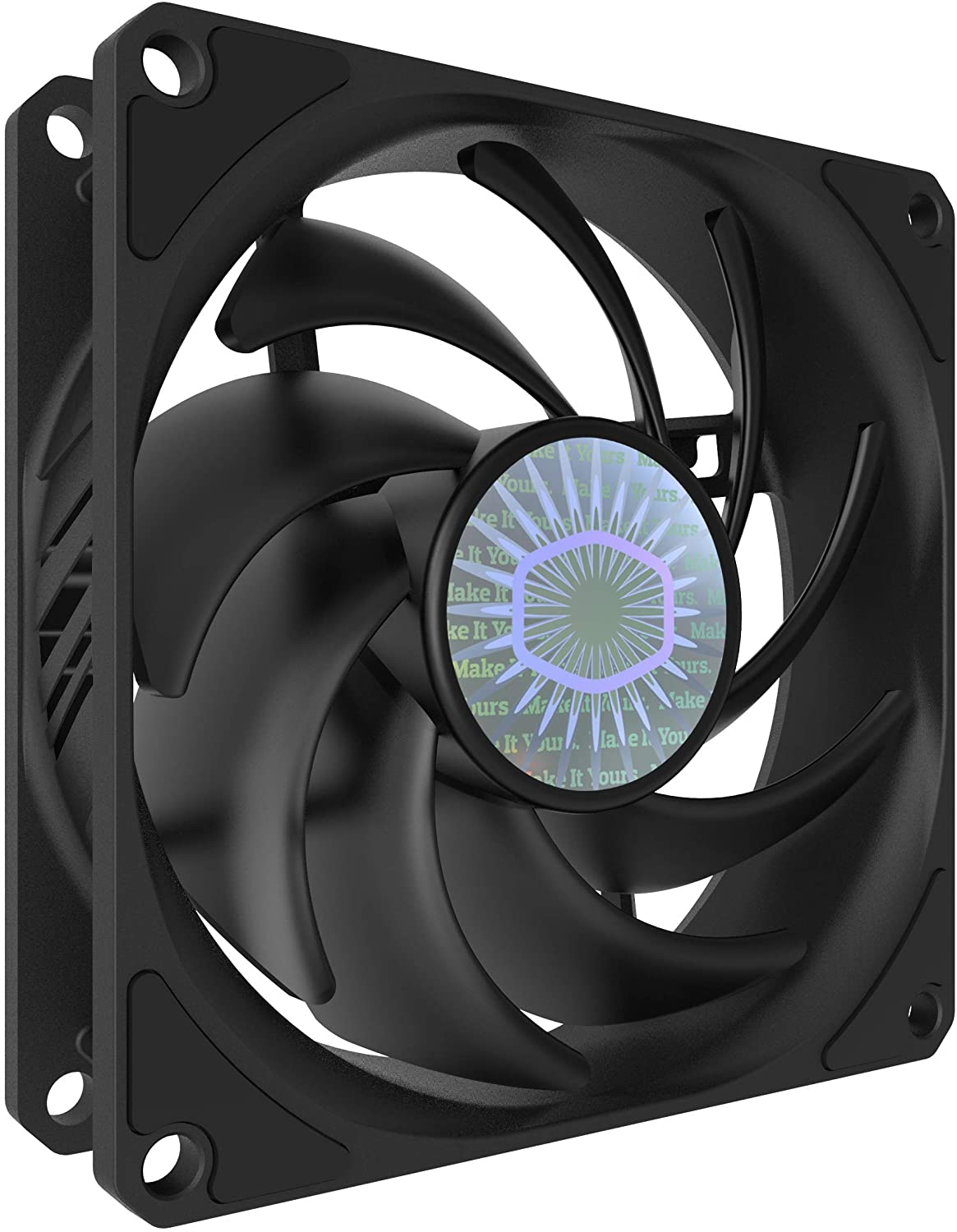 Cooler Master SickleFlow 92 All-Black 92mm Square Frame Fan with Air Balance Curve Blade Design, Sealed Bearing, PWM Control for Computer Case & Air Coolers