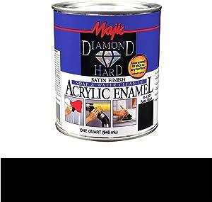 Majic Paints 8-1521-2 Diamond Hard Acrylic Enamel Premium Paint, 1-Quart (32 oz), Satin Black