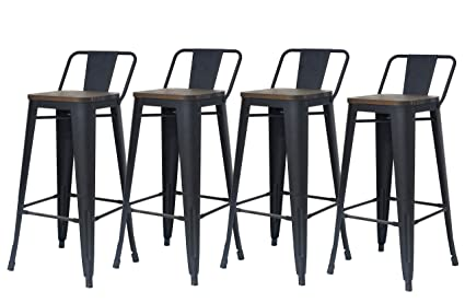 Outstanding Zhenghao Industrial Metal Bar Stools Set Of 4 30 Counter Height Barstool Chair With Low Back Wooden Seatmatte Black Uwap Interior Chair Design Uwaporg