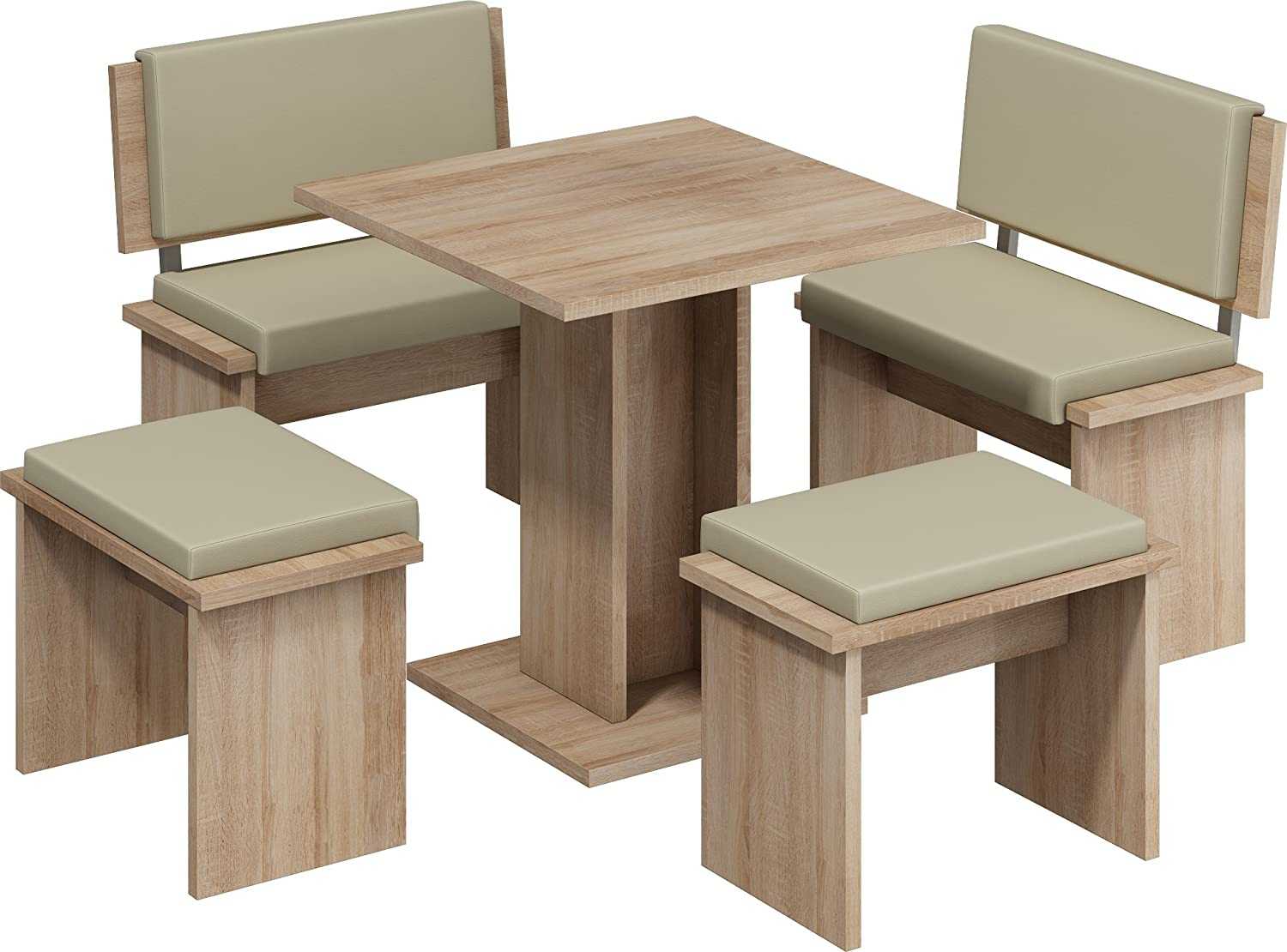 MEBLE FURNITURE & RUGS 5 Pc Breakfast Kitchen Nook Table Set, Bench Seating, Oak with Beige