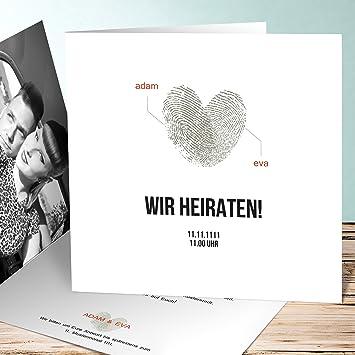 Schön Hochzeitskarten Einladung, Fingerprint 90 Karten, Quadratische Klappkarte  145x145 Inkl. Weißer Umschläge, Weiß