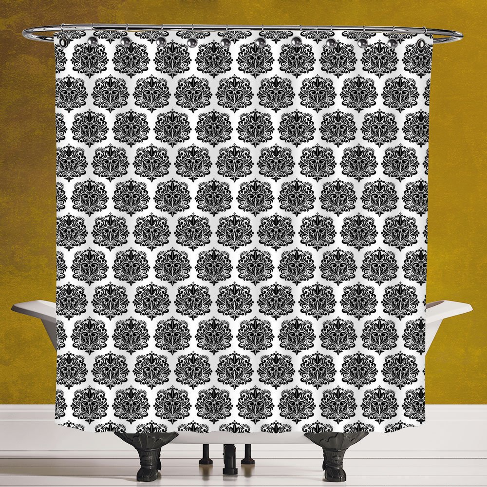 Waterproof Shower Curtain 3.0 [Damask,Monochrome Antique Surreal Heraldic Medieval Design with Swirls and Curves Motif Decorative,Black White] Digital Printing Polyester Antique Theme with Adjustable