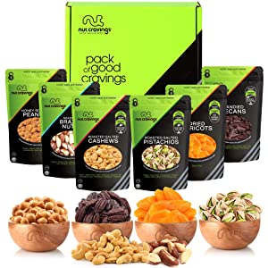 Gourmet Dried Fruit & Nut Gift Basket, Green Box (6 Bags) - Easter Food Arrangement Platter, Care Package Variety, Prime Birthday Assortment, Healthy Kosher Snack Tray for Women, Men, Adults