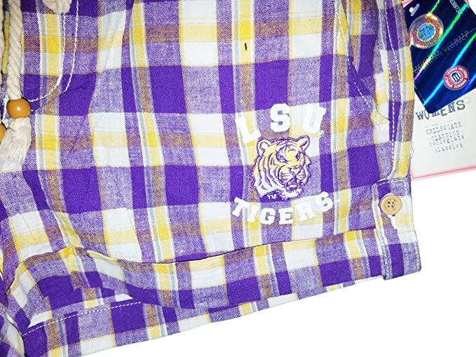2f115703f6f8 LSU Tigers Women's Purple & Gold Plaid Shorts at Amazon Women's Clothing  store: