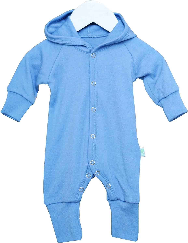 GREEN ROSE Baby Spielanzug mit Kapuze 100/% Merinowolle Romper Strampler 0-24 Monate