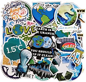 50pcs Environmental Protection Slogan Sticker Pack for Water Bottle, Laptop, Luggage, Skateboard, Focus on Global Warming, Climate Change, Marine Life, Water Conservation and Save The Plants