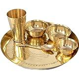 SPM Bronze Hand maded 6 Piece Dinner Thali Set|1 Dinner Plate 2 Bowl 1 Rice Plate 1 Glass & 1 Spoon|Home , Hotel Restaurant