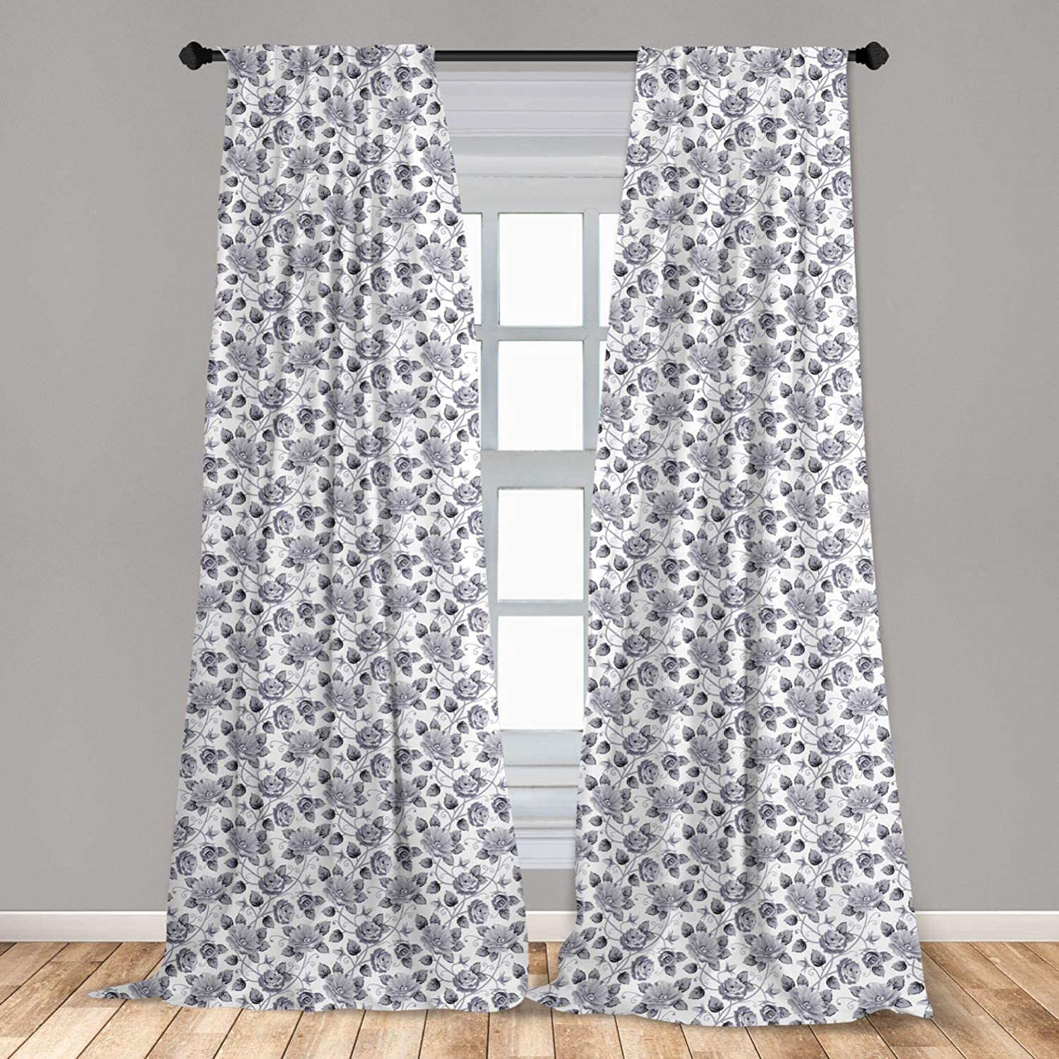 "Ambesonne Grey 2 Panel Curtain Set, Floral Patterns Victorian Inspired Roses with Dark Flowers in Monochrome Graphic Print, Lightweight Window Treatment Living Room Bedroom Decor, 56"" x 84"", Dimgray"
