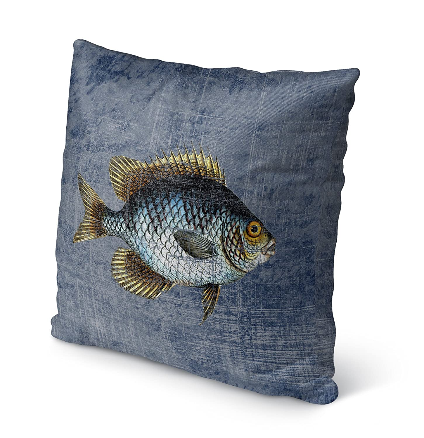 Blue//Gold//Brown Size: 16X16X6 - KAVKA Designs Fish Indoor-Outdoor Pillow, TELAVC8143OP16 - SALTWATER Collection
