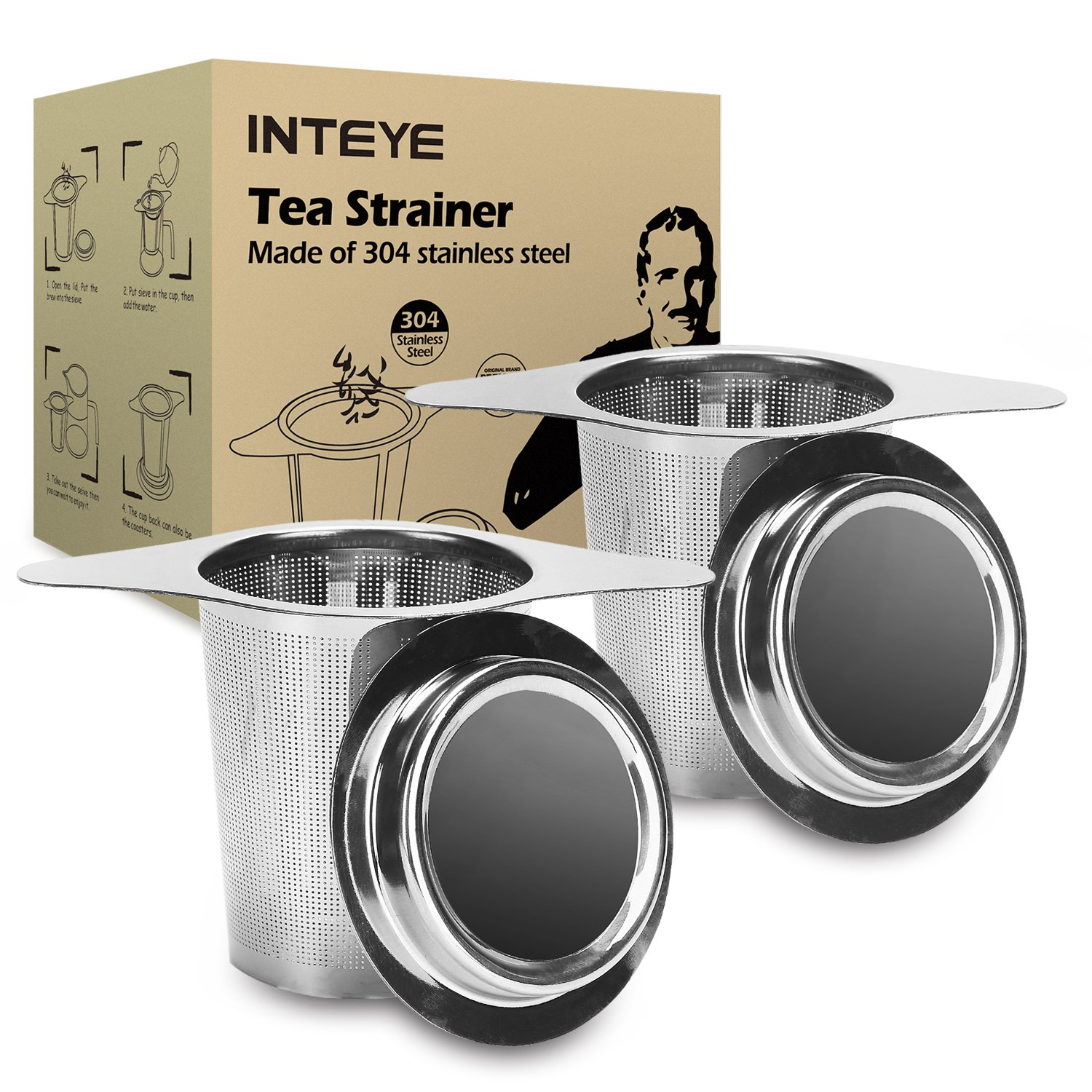 Tea Infuser,Tea Strainer,2 PACK 304 Stainless Steel Water Filter with Double Handles for Hanging on Teapots, Mugs, Cups to steep Loose Leaf Tea and Coffee,Cold Brew Coffee Maker. FDA Approved. by INTEYE (Image #1)