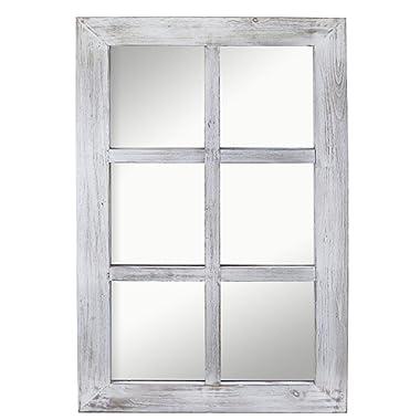 "Barnyard Designs Decorative Windowpane Mirror Rustic Farmhouse Distressed Wood Vertical Hanging Mirror Wall Decor 40  x 24"""