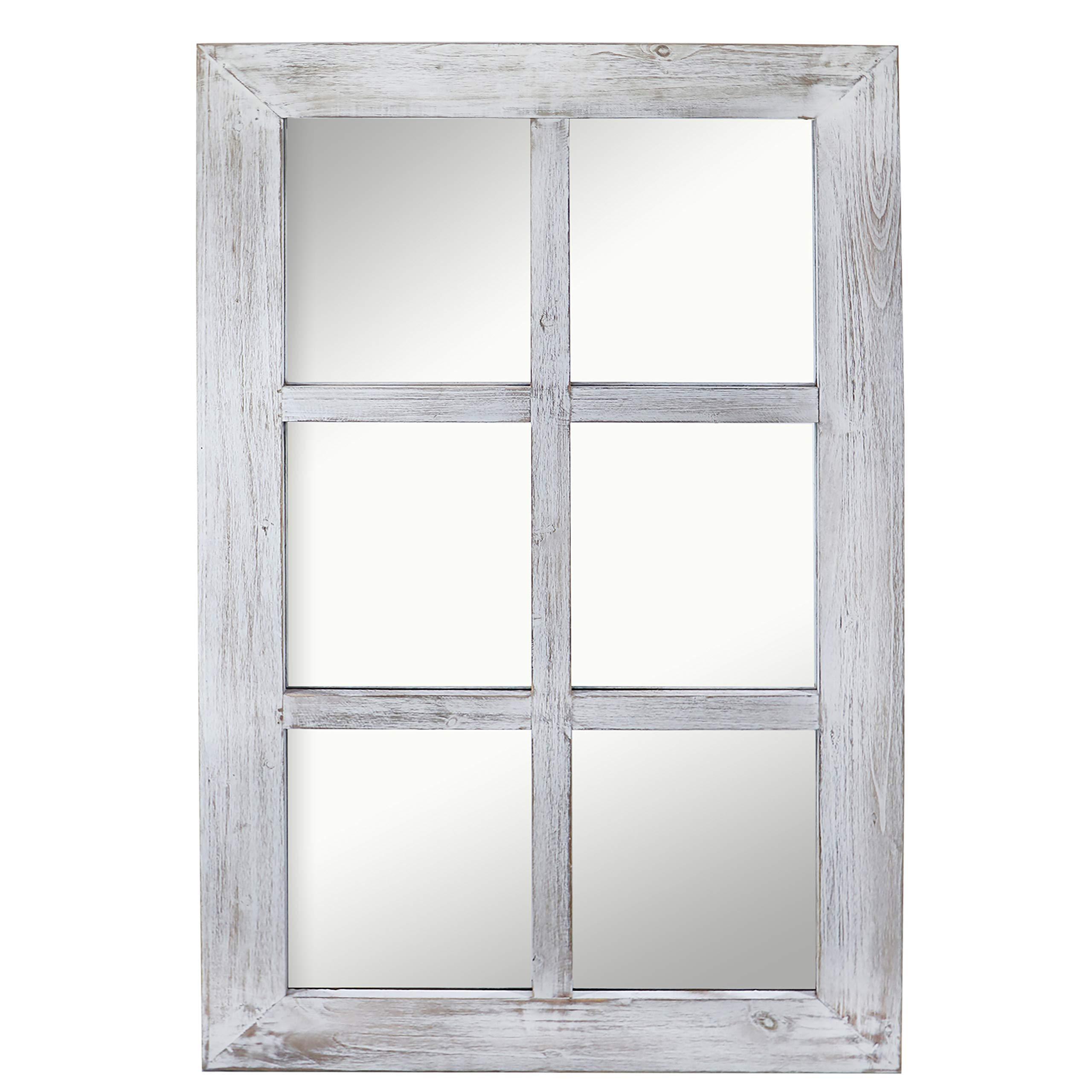 "Barnyard Designs Decorative Windowpane Mirror Rustic Farmhouse Distressed Wood Vertical Hanging Mirror Wall Decor 40'' x 24"""