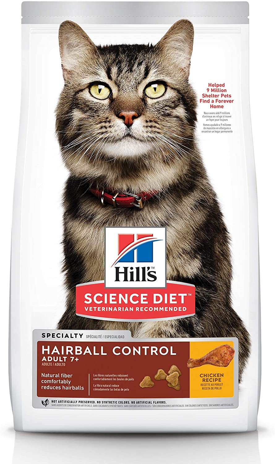 Hill's Science Diet Dry Cat Food, Adult 7+ for Senior Cats, Hairball Control, Chicken Recipe