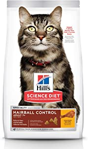 Hill's Science Diet Dry Cat Food, Adult 7+ for Senior Cats, Hairball Control, Chicken Recipe, 7 lb Bag
