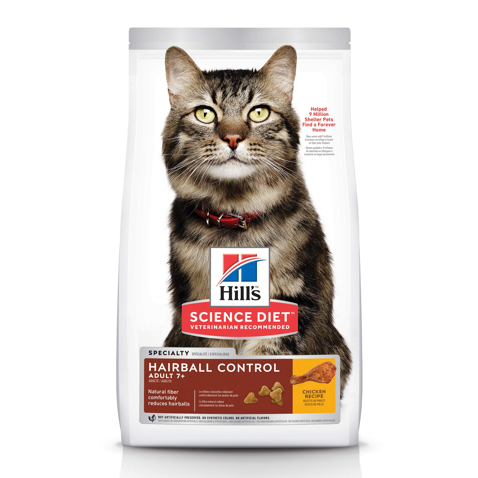 Hill's Science Diet Dry Cat Food, Adult 7+ for Senior Cats, Hairball Control, Chicken Recipe, 15.5 lb Bag