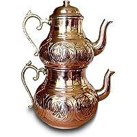El Yapımı Gaziantep Oyma İşlemeli Bakır Çaydanlık Takımı