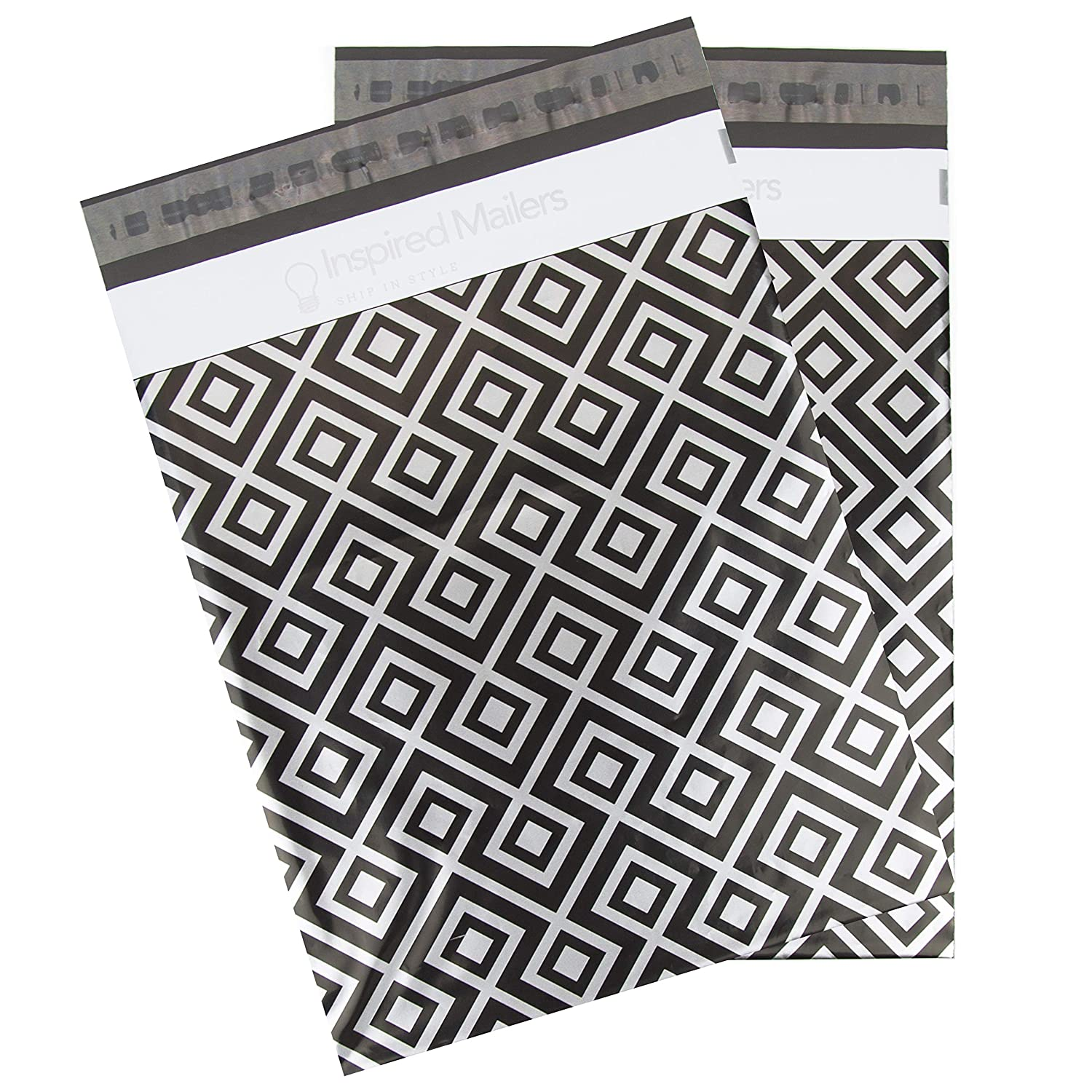 Amazon.com : Inspired Mailers Poly Mailers 10x13 Geometric Silver/Black - Pack of 100 - Unpadded Shipping Bags : Office Products