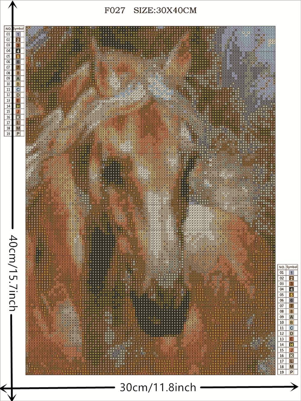 Lxmsja DIY 5D Diamond Painting Square Full Drill Diamond Art Kits Rhinestone Embroidery for Wall Decor 11.8X15.7inch Horse