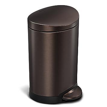 Simplehuman Semi Round Step Trash Can, Dark Bronze Stainless Steel, 6 L /