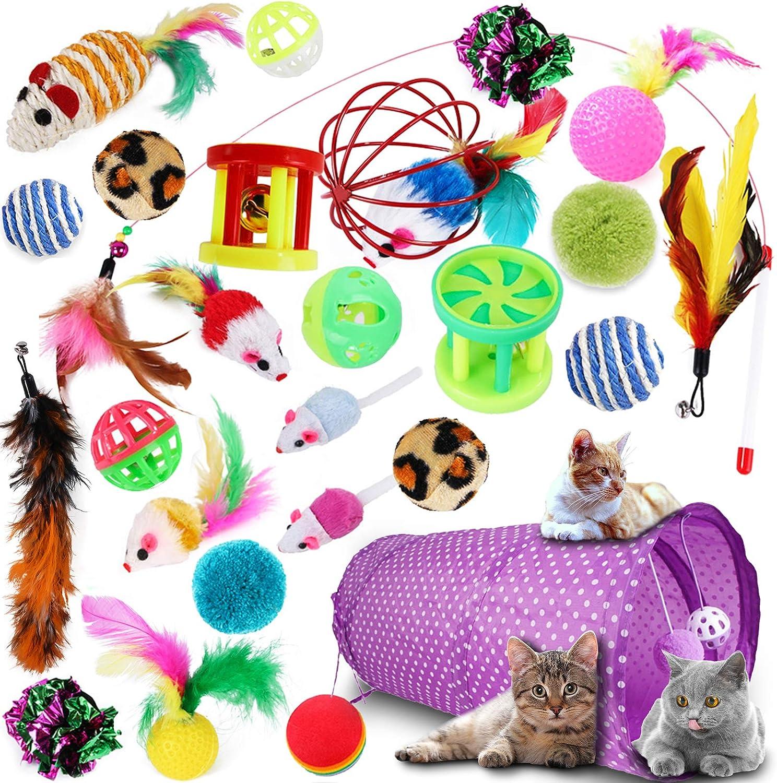 SaiXuan 27PCS Juguetes para Paquete de Variedad para Gatitos, Set di Juguetes para Gatos Interactivo Ratón,Ratóns y Bolas Varias para Gatos Juguetes para Gatos con Plumas túnel