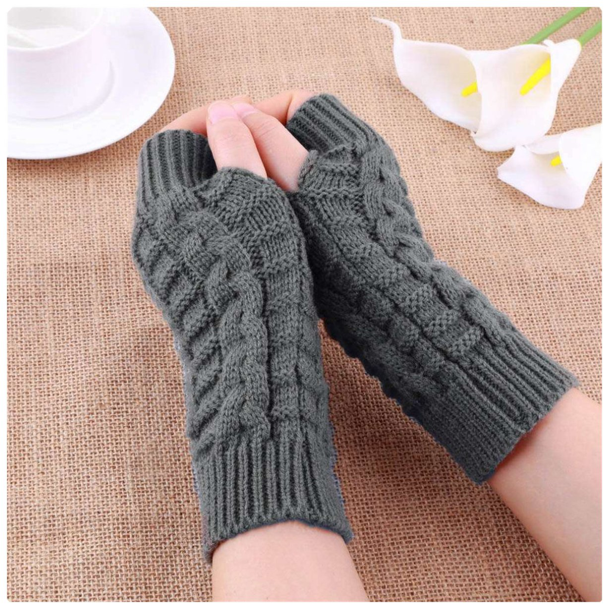 Winter Warm Knitted Gloves Fingerless Soft Warm Gloves for Work Writing,Grey ECYC