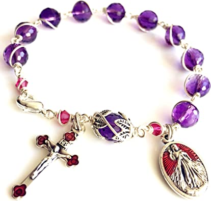 Beaded rosary gift for women Amethyst gemstone rosary bracelet with cross catholic rosary bracelet easter gifts