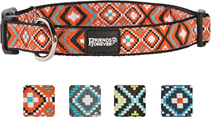 Friends Forever Dog Collar for Dogs - Fashion Woven Square Pattern Cute Puppy Collar, Available in Size Small/Medium/Large