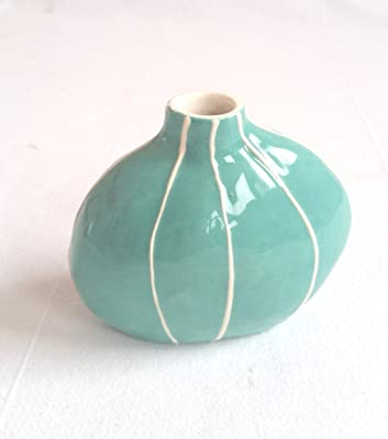 Budvase from Kri Kri Studio. Small round organic form. Simple modern style. Jade green with raised white stripes.