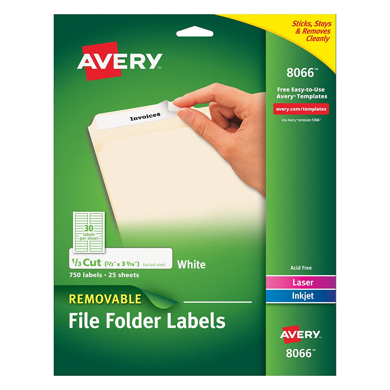 Amazon.com : Avery Removable White File Folder Labels, 750 Pack ...