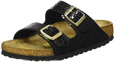 4b909bb10e6bd Image Unavailable. Birkenstock Womens Arizona Shiny Snake Black Synthetic  Sandals ...