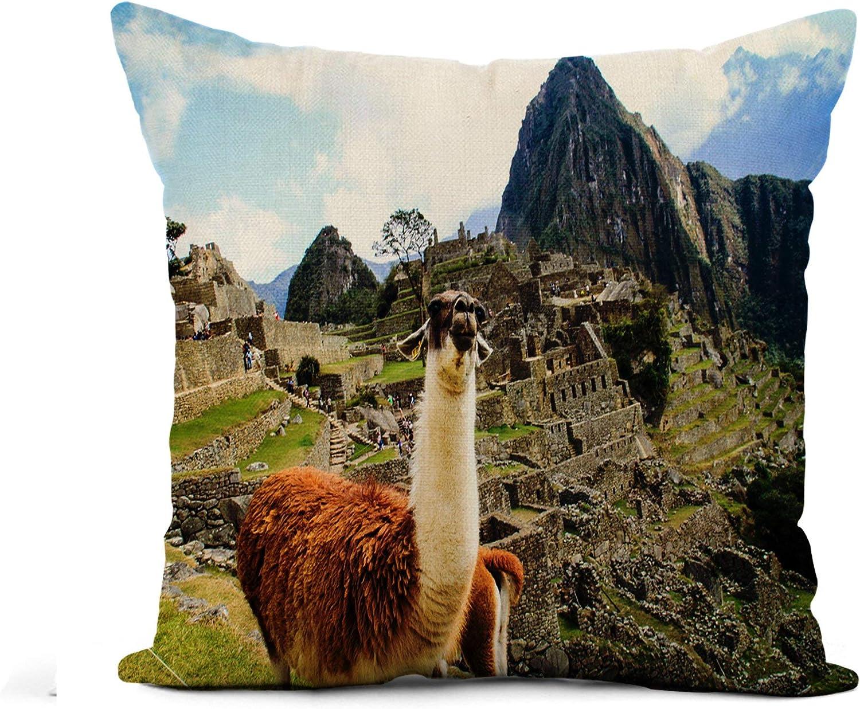 Awowee Flax Throw Pillow Cover Alpaca Machu Pichu UNESCO Site Inca Peru America Ancient 20x20 Inches Pillowcase Home Decor Square Cotton Linen Pillow Case Cushion Cover
