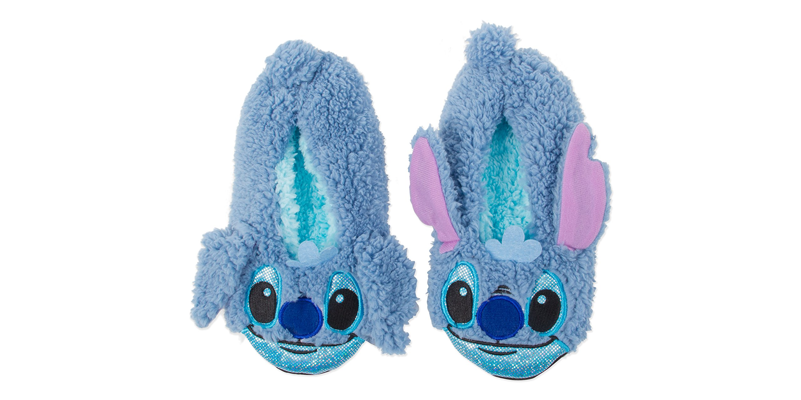 Disney Women's Lilo and Stitch Slipper Sock, Blue with Dye Ears, M/L-fits Shoe Size 8-11