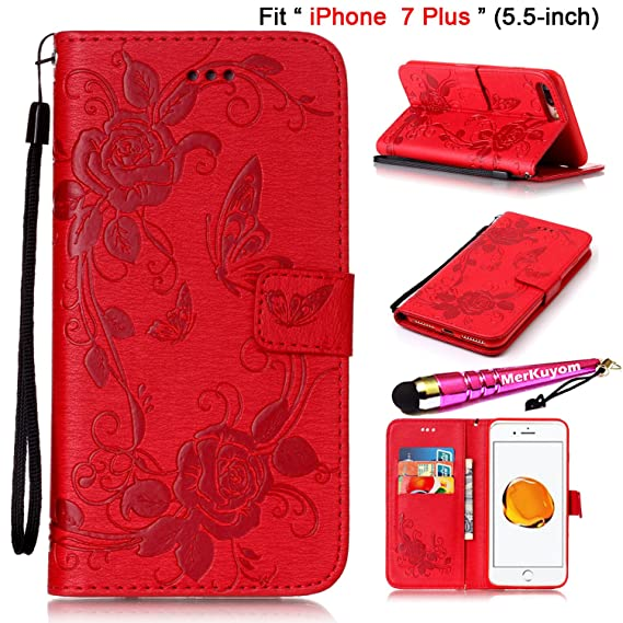 low priced e62e7 35b2f iPhone 7 Plus - Case, iPhone7 Plus Cover, MerKuyom [Embossed Flower  Butterfly] [Wrist Strap] Kickstand PU Leather Wallet Pouch Flip Cover Case  For ...