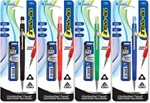 BAZIC 0.7 mm Triangle Mechanical Pencil w/ 2B Ceramic Leads Set, Assorted Color Comfort Cushion Grip, Smooth Write Pencils for Drawing Sketching, for School Office, 4-Pack