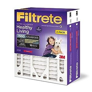 Filtrete 16x25x4, AC Furnace Air Filter, MPR 1550 DP, Healthy Living Ultra Allergen Deep Pleat, 2-Pack