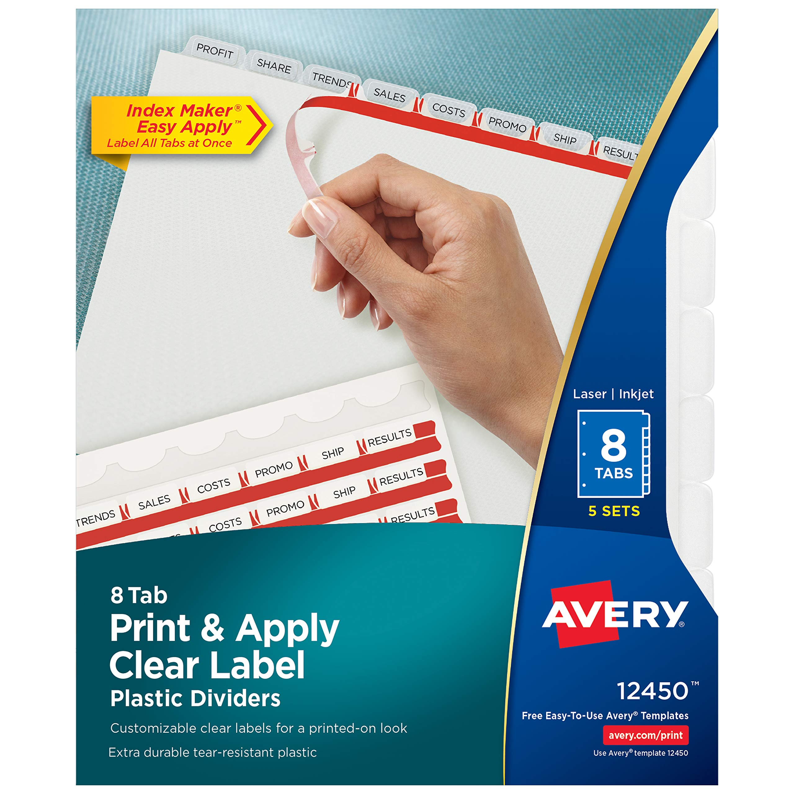 Avery 8-Tab Plastic Dividers, Easy Print & Apply Clear Label Strip, Index Maker, 5 Sets (12450) by Avery