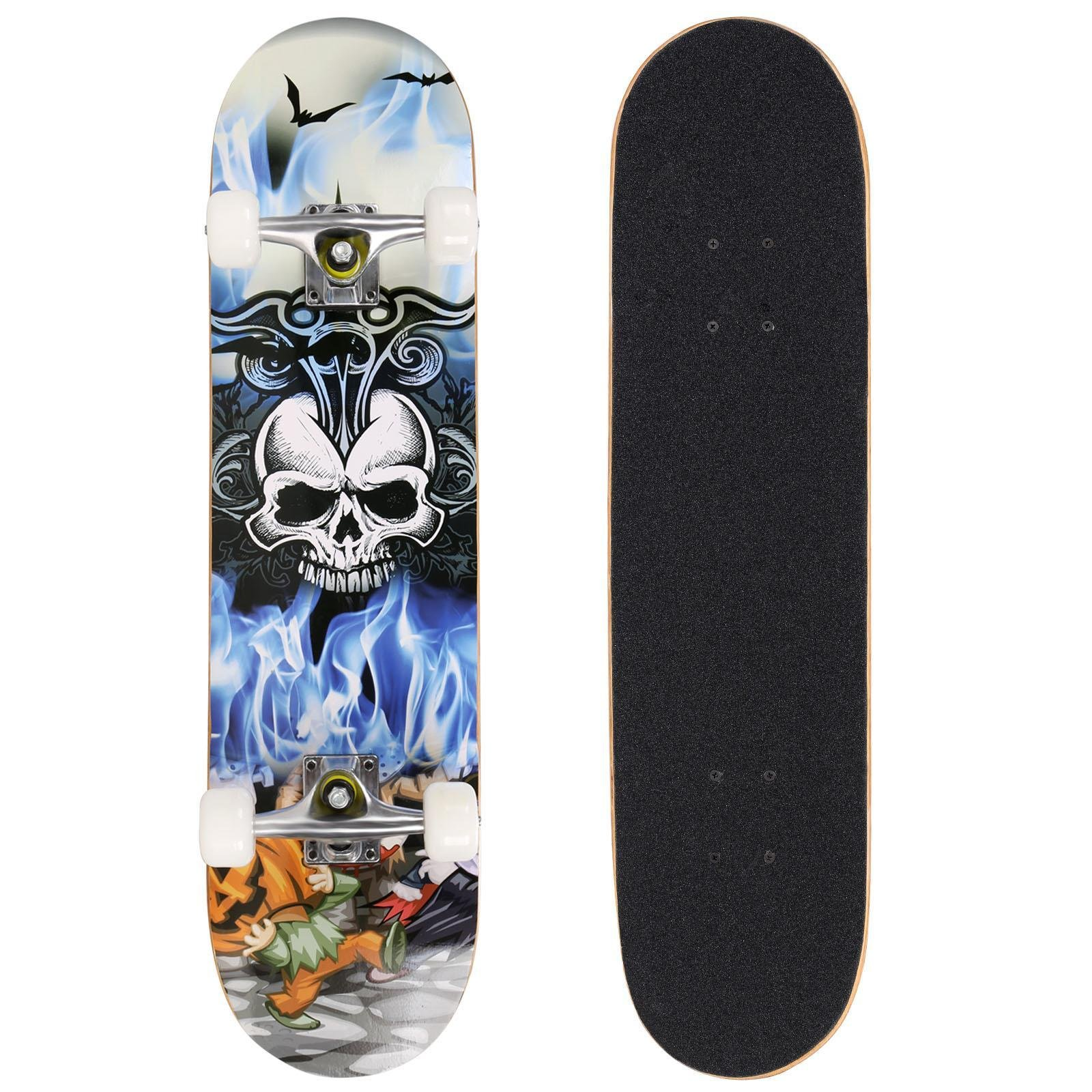 Vividy 31'' Canadian Maple Wood Deck Skateboard, PRO Print Wood board, Christmas Birthday Gift for Age 5+, Max Load-220lbs (US STOCK) (Skull)