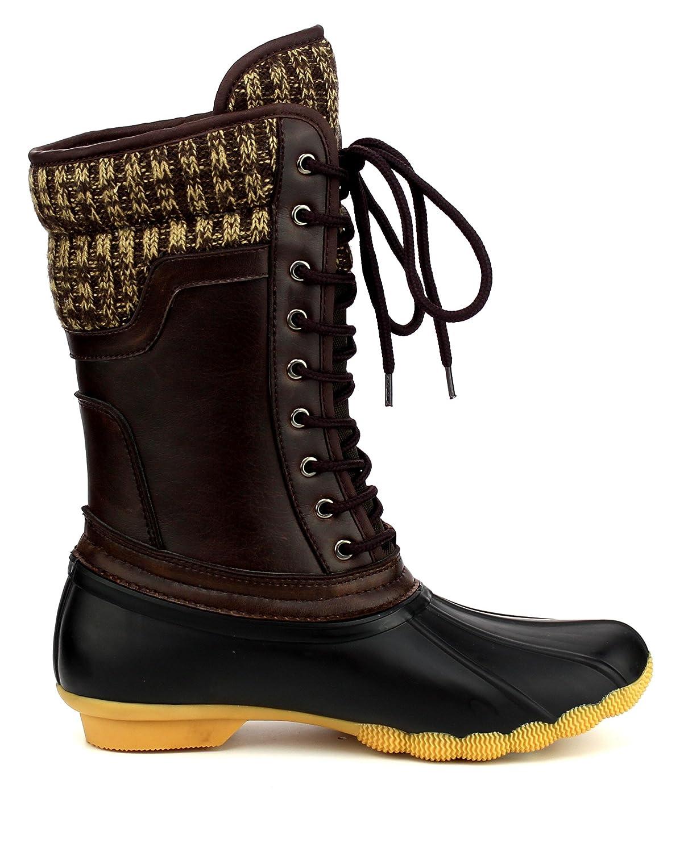 ShoBeautiful Women's Waterproof Duck Boots Rubber Two Tone Mix Media Skimmers Winter Rain Snow Mid Calf Boots B078NGYFDD 5 B(M) US|Black/Brown